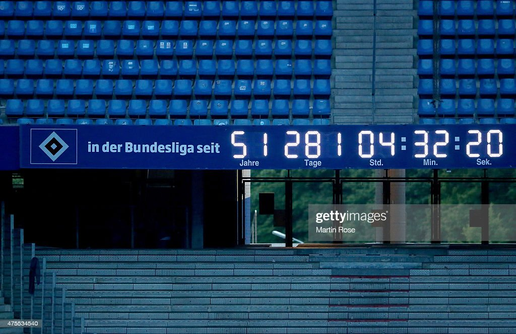 The stadium clock is still running afterthe Bundesliga playoff second leg match between Karlsruher SC and Hamburger SV during a public viewing at...