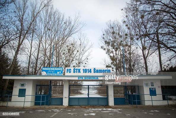The stadium entrance of Slovakian football club FC STK Samorin is seen in Samorin Slovakia on Friday Jan 27 2017 For top Brazilian clubs exporting...