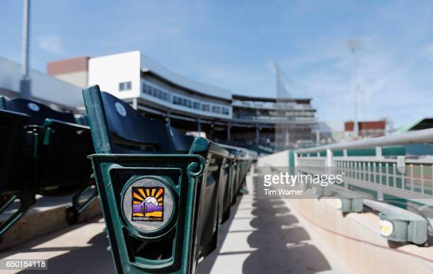The stadium logo is seen on the seats before the spring training game between the Cincinnati Reds and the Los Angeles Angels at Goodyear Ballpark on...