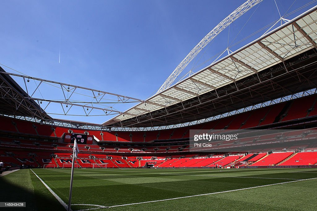 The stadium roof is open for the first time before the npower League two play-off final between Cheltenham Town and Crewe Alexandra at Wembley Stadium on May 27, 2012 in London, England.