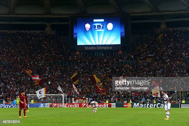 The stadium scoreboard displays the 17 scoreline during the UEFA Champions League group E match between AS Roma and FC Bayern Muenchen at Stadio...