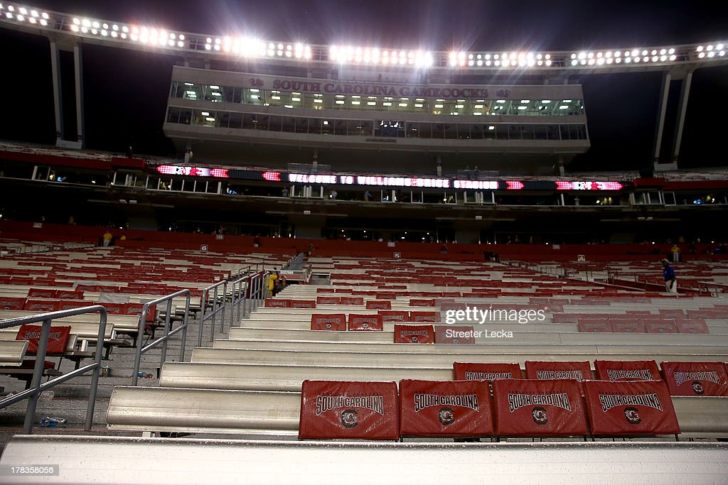 The stadium sits empty during a weather delay in the game between the North Carolina Tar Heels and South Carolina Gamecocks at Williams-Brice Stadium on August 29, 2013 in Columbia, South Carolina.