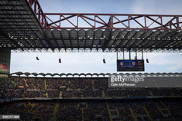 The stadium's electronic scoreboard pictured as the match enters secondhalf injury time at the Stadio Giuseppe Meazza also known as the San Siro as...