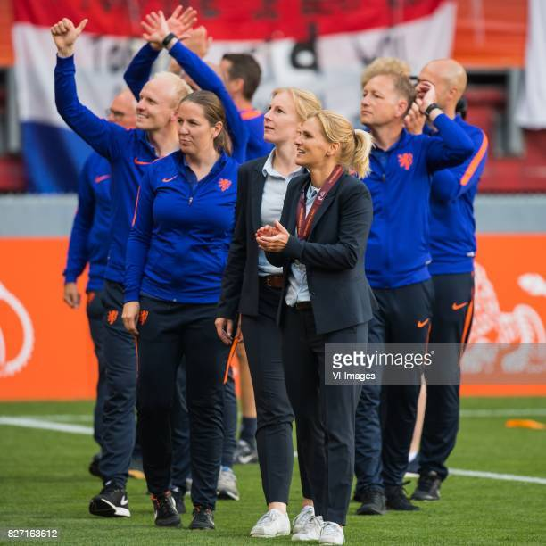 the staff of The Netherlands with coach Sarina Wiegman of Holland Women during the UEFA WEURO 2017 final match between The Netherlands and Denmark at...