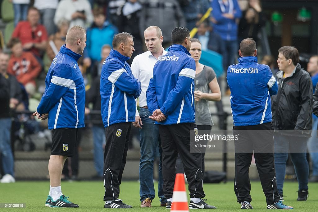 the staff of Vitesse is informed about the weather by the safety coordinator during the first training session of the season 2016/2017 on June 26, 2016 at Papendal, The Netherlands