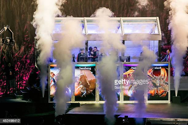 The stage at Key Arena lights up with fireworks following the win of Newbee at The International DOTA 2 Championships on July 21 2014 in Seattle...