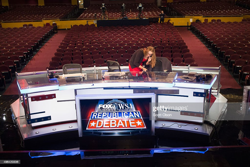 The stage at the Milwaukee Theater is prepared for the Republican presidential debate sponsored by Fox Business News and the Wall Street Journal on...