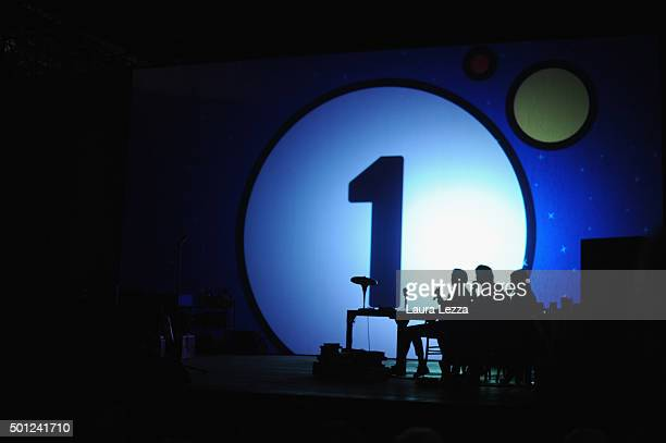 The stage is displayed during the meeting of the Leopolda 2015 on December 13 2015 in Florence Italy The Leopolda an annual public meeting to discuss...