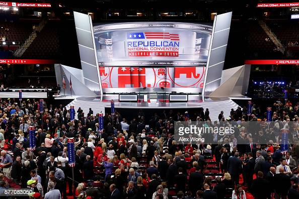 The stage is left empty after Republican National Committee Chairman Reince Priebus left the stage during protests on the floor on the first day of...