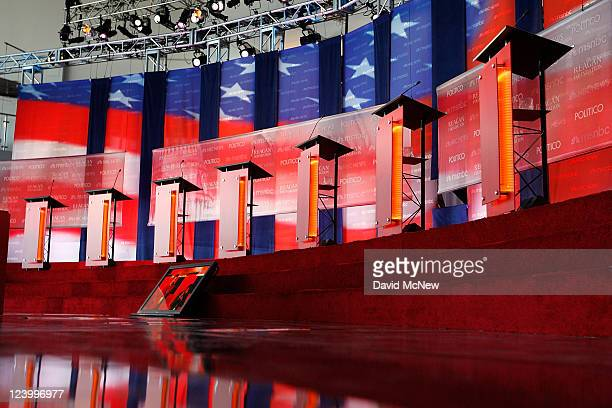 The stage is seen inside Air Force One Pavilion before the start of the Ronald Reagan Centennial GOP Presidential Primary Candidates Debate at the...