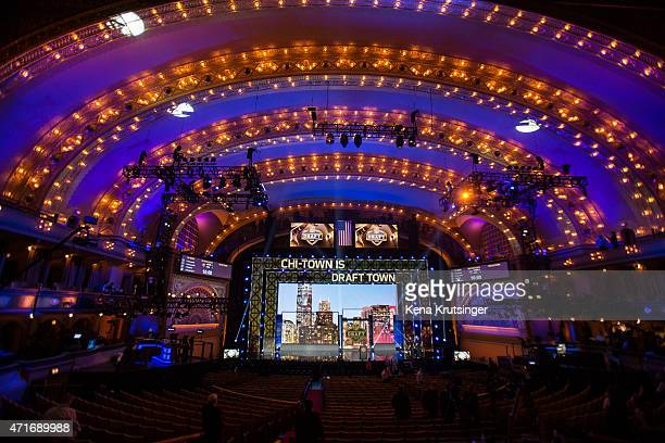 The stage is seen prior to the start of the first round of the 2015 NFL Draft at the Auditorium Theatre of Roosevelt University on April 30 2015 in...