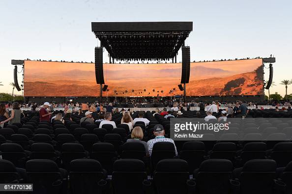 The stage is set as music fans arrive for Desert Trip weekend 2 at The Empire Polo Club on October 14 2016 in Indio California