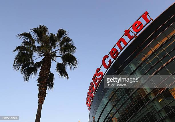 The stage is set outside the Staples Arena for the upcoming 2017 NHL AllStar Game on January 26 2017 in Los Angeles California