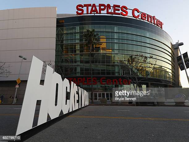 The stage is set outside the Staples Center for the upcoming 2017 NHL AllStar Game on January 26 2017 in Los Angeles California