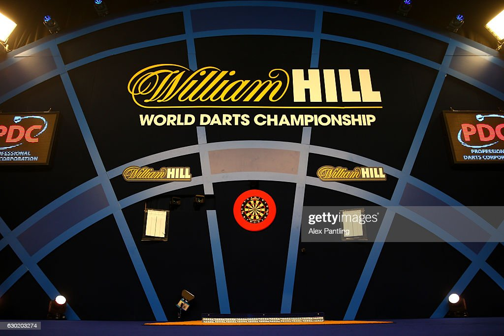 The stage is set prior to Day Four of the 2017 William Hill PDC World Darts Championships at Alexandra Palace on December 18, 2016 in London, England.