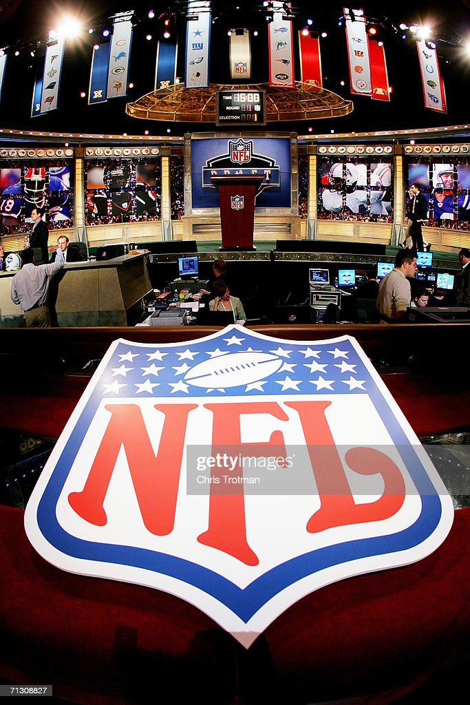 The stage is shown with the NFL Logo at the 2006 NFL Draft on April 29 2006 at Radio City Music Hall in New York New York