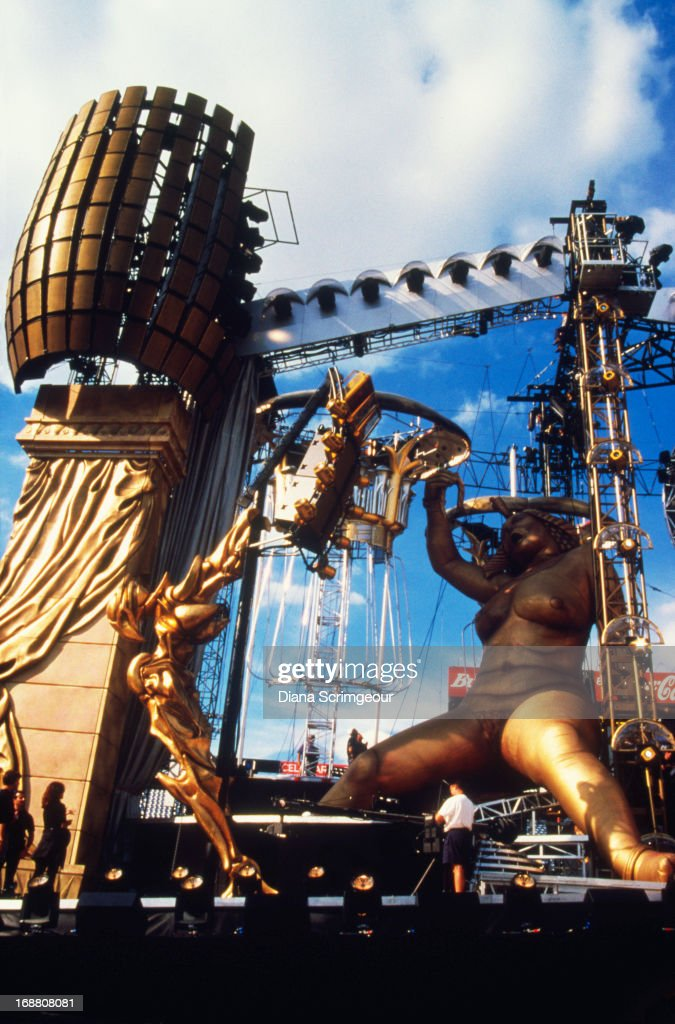 The stage set for a concert on the Rolling Stones' 'Bridges To Babylon' worldwide tour, 1997.
