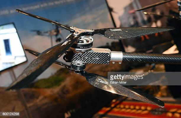 The staggered rotors on a Delta LRX drone by Altus Unmanned Aerial Solutions are displayed at InterDrone an international drone conference and...