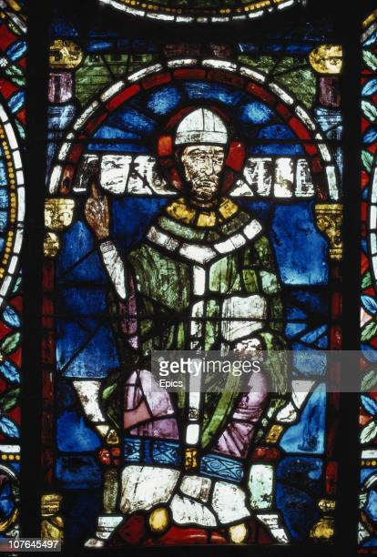 The stained glass Becket window depicting Sir Thomas Becket in Canterbury Cathedral Canterbury Kent November 1974