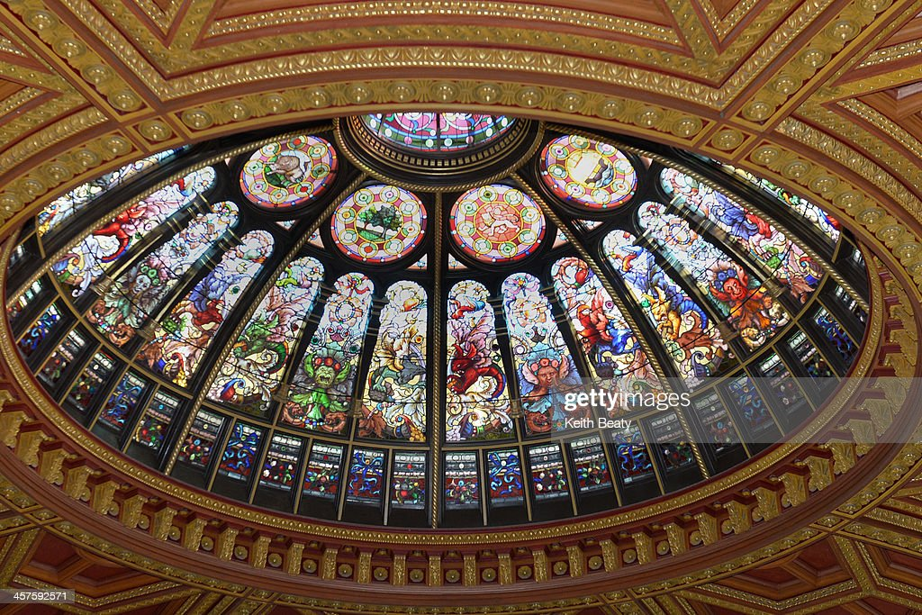 The stained glass dome at the Hockey Hall of Fame in Toronto. December 13, 2013.