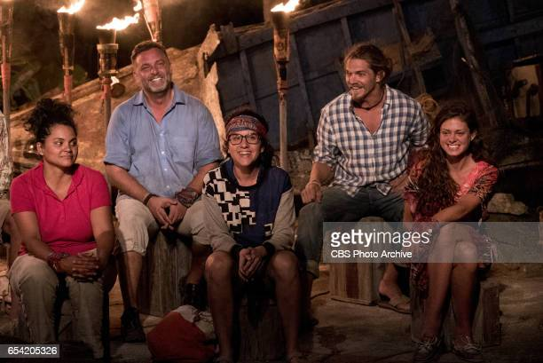 'The Stakes Have Been Raised' Sandra DiazTwine Jeff Varner Aubry Bracco Malcolm Freberg and Hali Ford at Tribal Council on SURVIVOR when the Emmy...