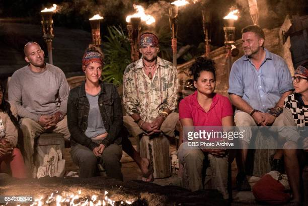 'The Stakes Have Been Raised' Tony Vlachos Ciera Eastin Troyzan Robertson Sandra DiazTwine Jeff Varner and Aubry Bracco at Tribal Council on SURVIVOR...