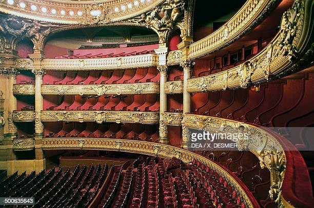 The stalls of the Palais Garnier 18601875 designed by Charles Garnier one of the venues for the Opera National de Paris Paris Paris IledeFrance...