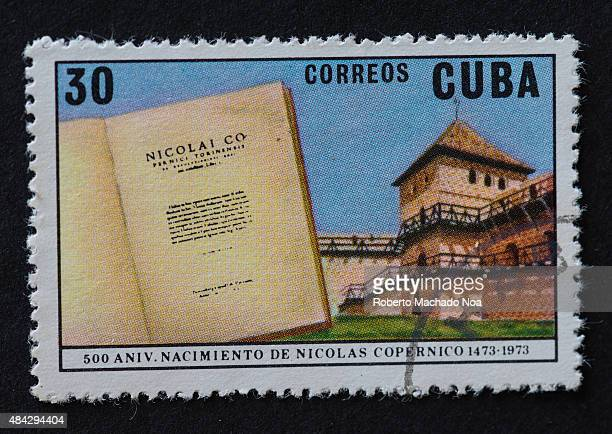 CUBA CIRCA 1973 The stamp printed in Cuba shows quincentenary from the day of birth of Nicolaus Copernicus circa 1973