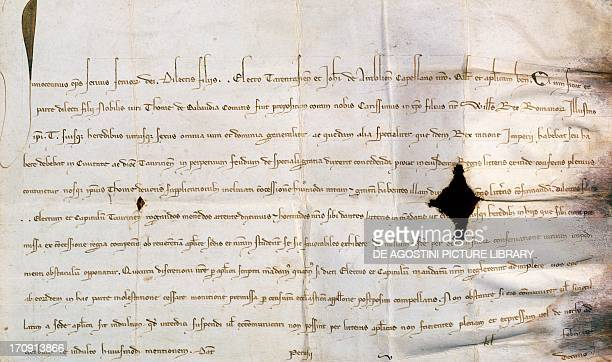 The stamp with which Pope Innocent IV approved the donations made by the Emperor William King of the Romans to Thomas of Savoy manuscript 1253