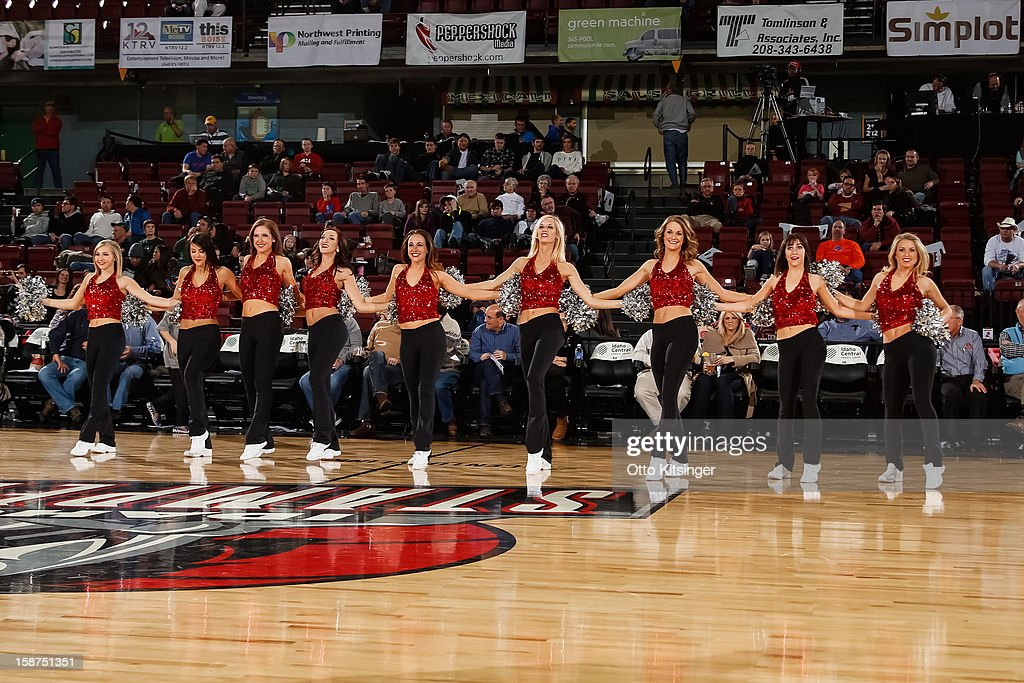 The Stampede Spirit dance team performs during the NBA D-League game between the Idaho Stampede and the Maine Red Claws on December 26, 2012 at CenturyLink Arena in Boise, Idaho.