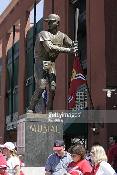 The Stan Musial statue before the home opening game between the Milwaukee Brewers and the St Louis Cardinals on April 10 2006 at the new Busch...