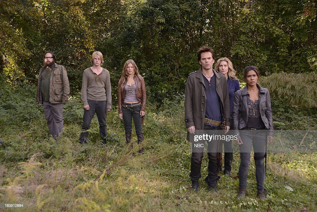 REVOLUTION -- 'The Stand' Episode 111 -- Pictured: (l-r) Zak Orth as Aaron, Graham Rogers as Danny Matheson, Tracy Spiridakos as Charlie Matheson, Billy Burke as Miles Matheson, Elizabeth Mitchell as Rachel Matheson, Daniella Alonso as Nora --