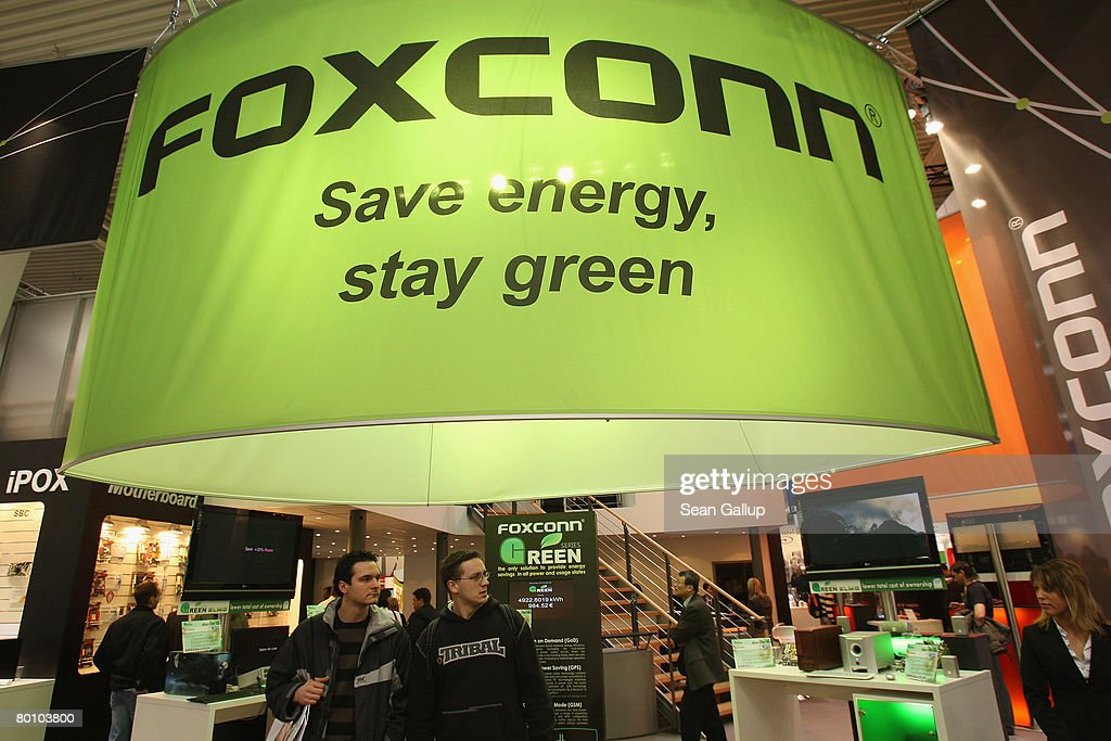 The stand of Taiwanese electonics giant Foxconn promotes green and energy saving business practice at the CeBIT technology fair on the first day the fair opened to the public on March 4, 2008 in Hanover, Germany. CeBIT, the world's largest technology trade fair, will run from March 4-9.