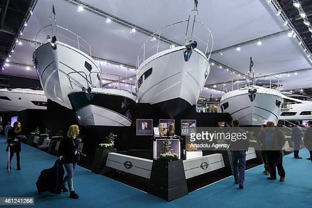 The stand of the luxury British yacht manufacturer Sunseeker at the London Boat Show at ExCel on January 9 2015 in London England Until the 18th of...