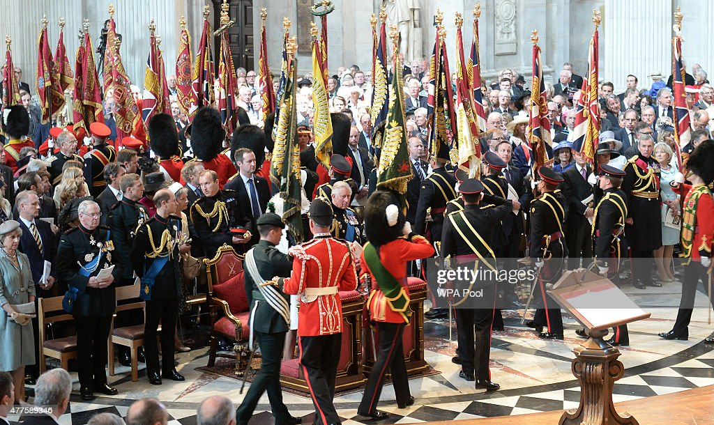 The Standards, Guidons and Colours of The Battle Of Waterloo leave in procession during a commemoration service to mark the 200th Anniversary of the Battle of Waterloo, at St Paul's Cathedral on June 18, 2015 in London, England.