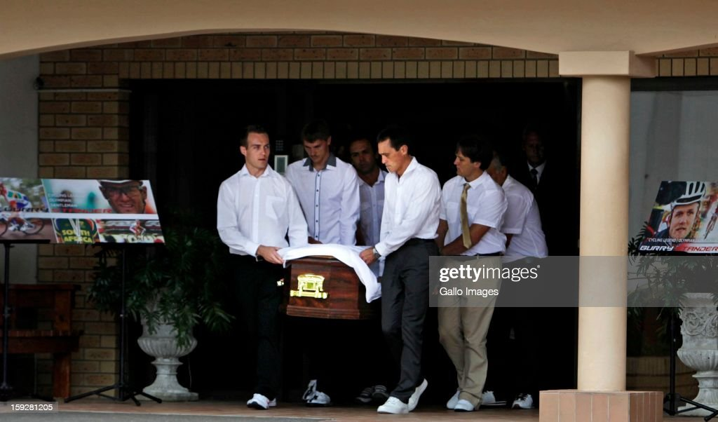 The Stander family members carrying Burry's coffin as his body leaves the Norwegian Settlers Church on January 10, 2013, in Port Shepstone South Africa. Olympic cyclist, Burry Sanders was tragically killed in a hit and run by a Taxi whilst training, the taxi driver has been charged with culpable homicide.