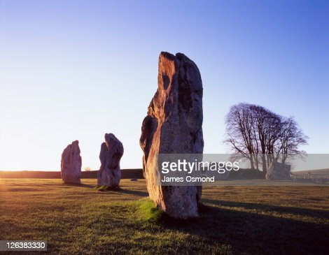 The Standing Stone Circle at Avebury on the morning of the spring equinox in Wiltshire.
