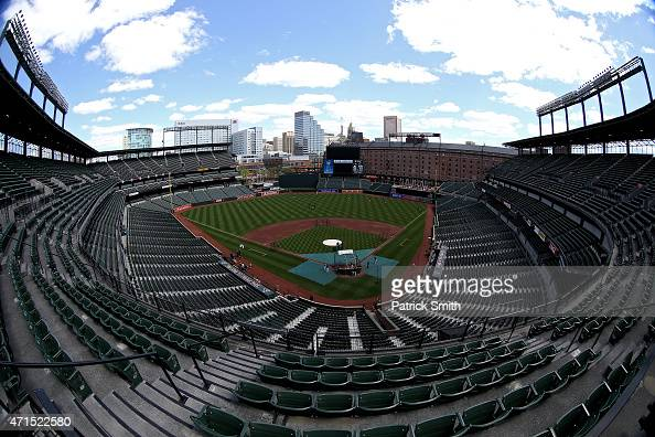 The stands are seen empty before the Baltimore Orioles play the Chicago White Sox at Oriole Park at Camden Yards on April 29 2015 in Baltimore...