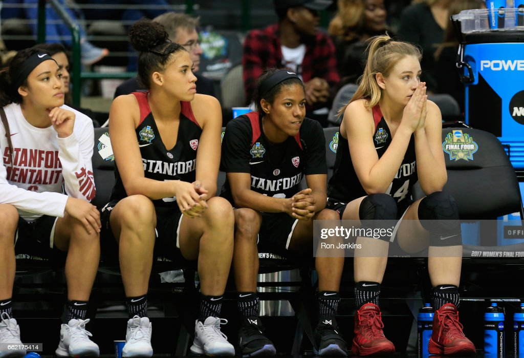 The Stanford Cardinal bench reacts in the second half against the South Carolina Gamecocks during the semifinal round of the 2017 NCAA Women's Final Four at American Airlines Center on March 31, 2017 in Dallas, Texas. South Carolina Gamecocks won 62-53.