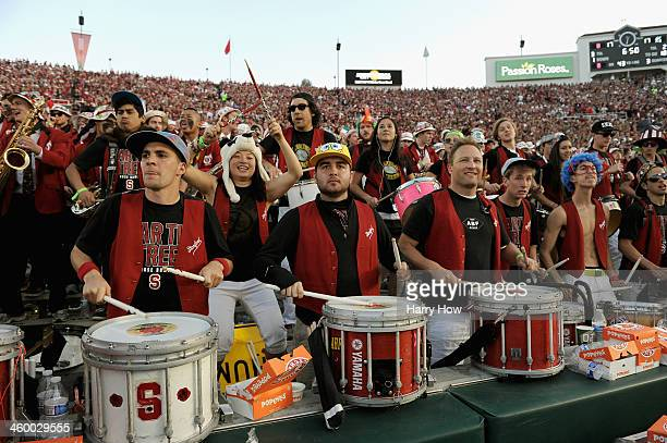 The Stanford Cardinal marching band performs during the 100th Rose Bowl Game presented by Vizio against the Michigan State Spartans at the Rose Bowl...