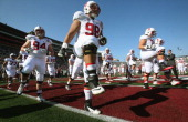The Stanford Cardinal warms up prior to the 100th Rose Bowl Game presented by Vizio against the Michigan State Spartans at the Rose Bowl on January 1...