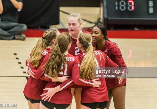 The Stanford team celebrate winning the first set during the regular match between the UCLA Bruins and the Stanford Cardinals on Thursday November 16...