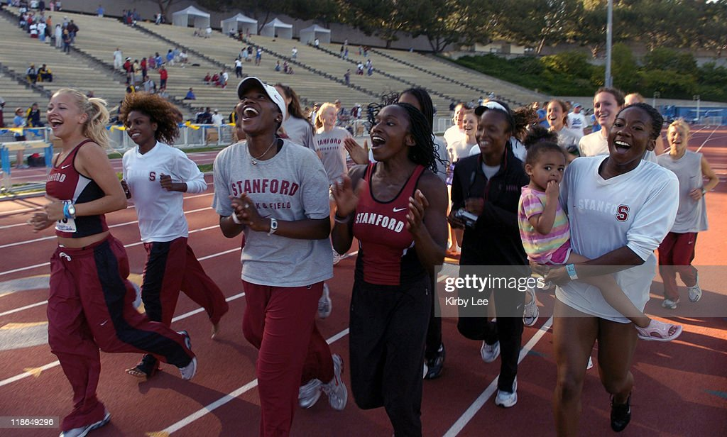 The Stanford women take a victory lap after winning the school's first women's conference track title in the Pacific10 Conference Track Field...