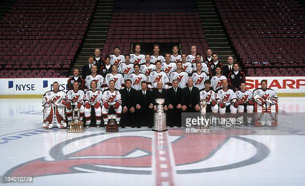 The Stanley Cup Champion New Jersey Devils take a team photo in June 2003 after winning the Stanley Cup against the Mighty Ducks of Anaheim at the...
