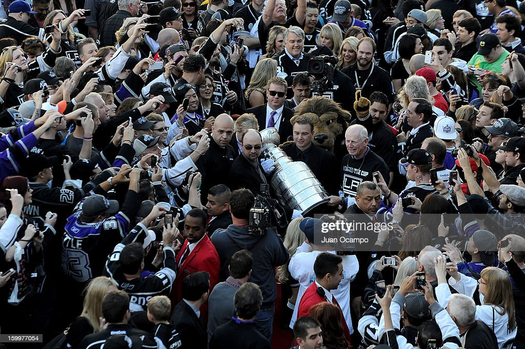 The Stanley Cup is carried into Staples Center prior to the game between the Los Angeles Kings and the Chicago Blackhawks at Staples Center on January 19, 2013 in Los Angeles, California.