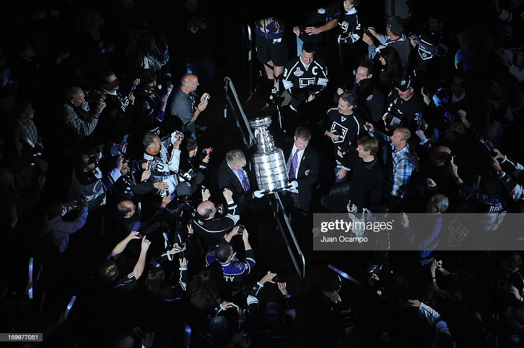 The Stanley Cup is carried through the crowd Center prior to the game between the Los Angeles Kings and the Chicago Blackhawks at Staples Center on January 19, 2013 in Los Angeles, California.