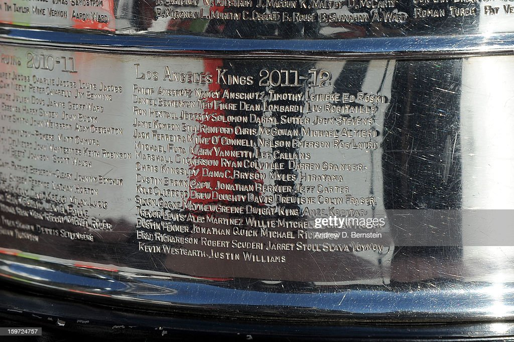 The Stanley Cup is displayed prior to the game between the Los Angeles Kings and the Chicago Blackhawks at Staples Center on January 19, 2013 in Los Angeles, California.