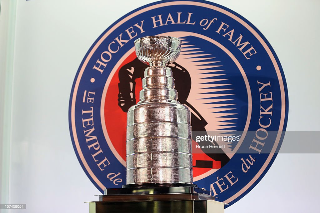 The Stanley Cup is on display prior to the HHoF induction press conference and photo opportunity at the Hockey Hall of Fame on November 12 2012 in...