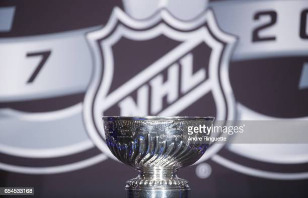 The Stanley Cup is shown on display during the 2017 Scotiabank NHL 100 Classic announcement at the Chateau Laurier on March 17 2017 in Ottawa Ontario...