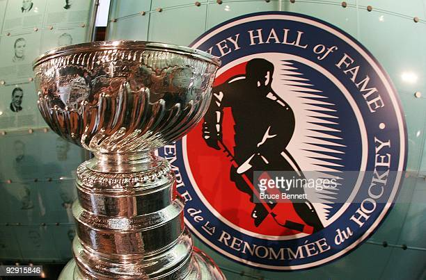 The Stanley Cup on display at the Hockey Hall of Fame Induction Photo Opportunity at the Hockey Hall of Fame on November 9 2009 in Toronto Canada